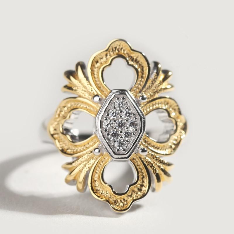 CMajor bijoux en argent massif croix fleur creux élégant dentelle mode Vintage anneaux pour les femmes - 4