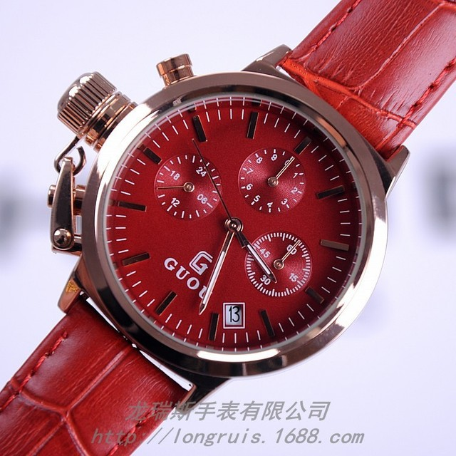 Genuine Leather Strap Woman Multifunction Quartz Watch Reloj Hombre 3 Eye Time Sport Watch Waterproof 30 Meters Business Watches