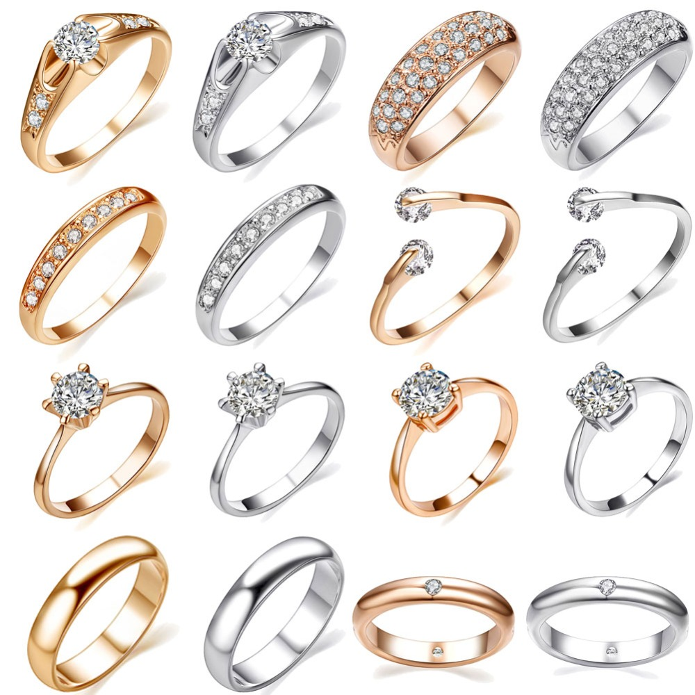 UMODE Rose Gold Engagement Wedding Rings For Women Vintage Love Stone Finger Promise Rings Accessories <font><b>Wholesale</b></font> <font><b>Lots</b></font> <font><b>Bulk</b></font> image