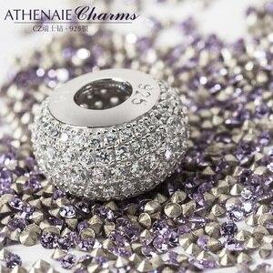 Image 3 - سوار من ATHENAIE مصنوع من الفضة الإسترليني عيار 925 مزين بخرز شفاف ومزين بأحجار الزركونيا مناسبة لجميع أشكال سوار الحُلي الأوروبي مجوهرات أصلية هدية