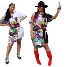 T Shirt Dress Women Funny Print Summer Dresses Cartoon Hip-Hop Fire Letters Midi Asymmetrical Club Party Vestidos Robe