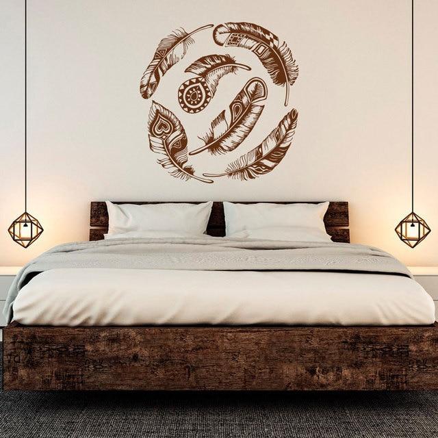 Feather wall applique สติกเกอร์ไวนิล dream catcher เผ่า boho art สติ๊กเกอร์ติดผนังห้องนอนห้องนั่งเล่นรูปลอก ZM02