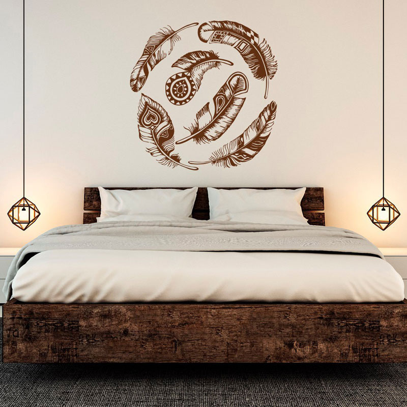 Feather wall applique vinyl sticker dream catcher tribal decoration boho art wall sticker bedroom living room decal ZM02-in Wall Stickers from Home & Garden