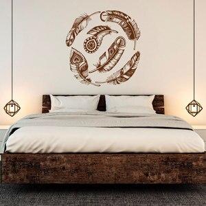 Image 1 - Pena apliques de parede vinil adesivo decoração dream catcher tribal boho art adesivos de parede quarto sala decalque ZM02