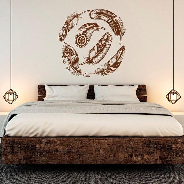 Pena apliques de parede vinil adesivo decoração dream catcher tribal boho art adesivos de parede quarto sala decalque ZM02