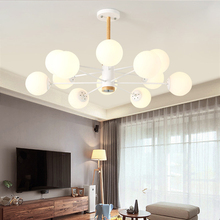Modern living room chandelier simple warm Nordic creative personality led solid wood home master bedroom hall ceiling lamp