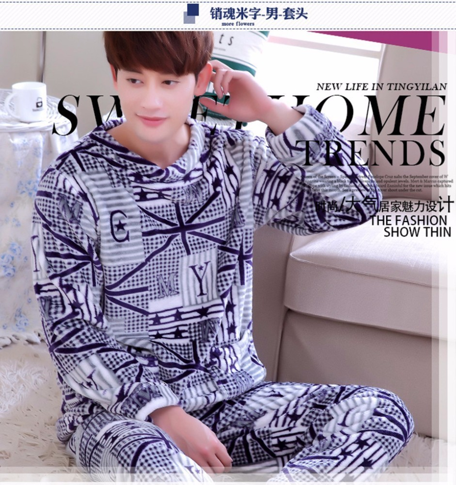 a575f9395 Detail Feedback Questions about Men Pajama Set Winter Flannel Thick ...