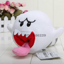 2016 Hot Sales  Super Mario Bros boo ghost  with Tanooki TAIL Plush Stuffed Dolls Mario Plush Toys 10CM Plush Toys Figures toy