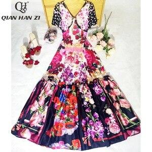 Image 3 - Qian Han Zi Vestido largo de diseñador más nuevo, a la moda, de pasarela, de manga corta con cuello en V, estampado increíble Vintage Indie Folk