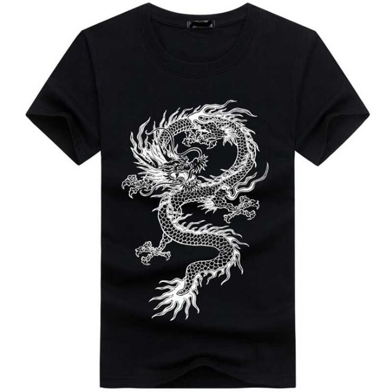 2018 Men's New Chinese dragon 3D Printed Short Sleeve T-Shirt Summer Fashion Cool Tops Novelty O-neck Men cotton trend Tees 5XL