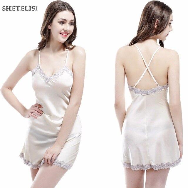 SHETELISI New Solid Color Satin Chiffon Women's Nightgown Slinky Nightdress Sheer Chemise Lace Sleepwear Trim Nightie sp0055