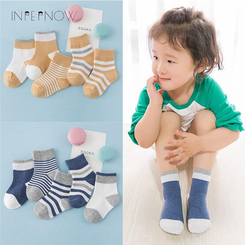 INPEPNOW 5 Pair/lot Baby Boy Striped Socks Soft Cotton Infant Socks Cute Cartoon Pattern Kids Socks Winter For Girl WZ-CZX53 4