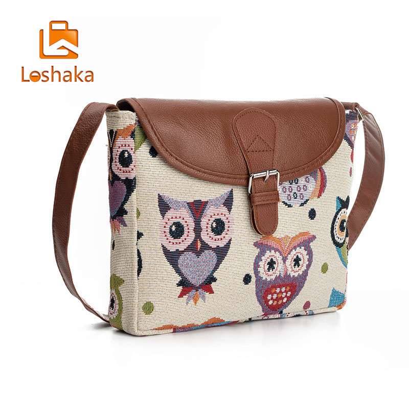 fce369e56d Loshaka Women Messenger Bags Flap Bag Lady Canvas Cartoon Owl Printed  Crossbody Shoulder Bags Small Female Handbags