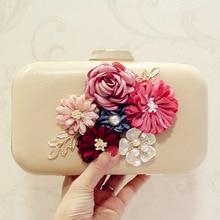 купить Fashion Summer Flower Women Clutch Bag White Black Ladies Luxury Evening Bags Female Pink Wedding Chain Shoulder Bag sac a main дешево