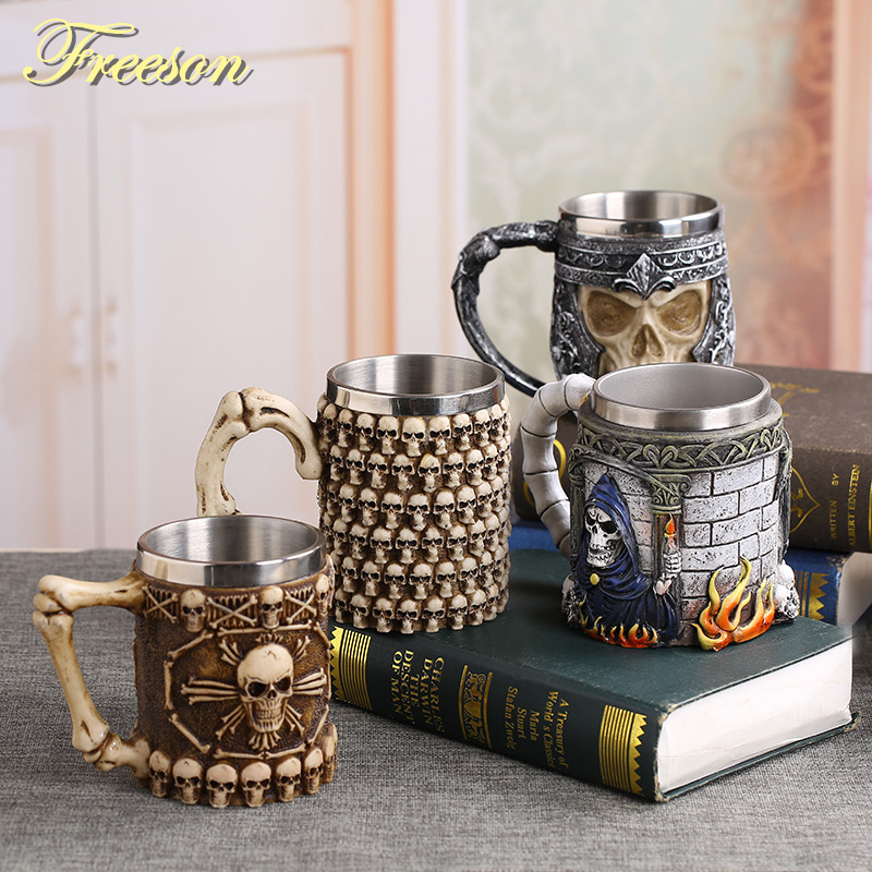 Coolest Gothic Skull Resin Stainless Steel Beer Mug Dragon Knight Tankard Halloween Coffee Cup Christmas Tea Mug Pub Bar Decor