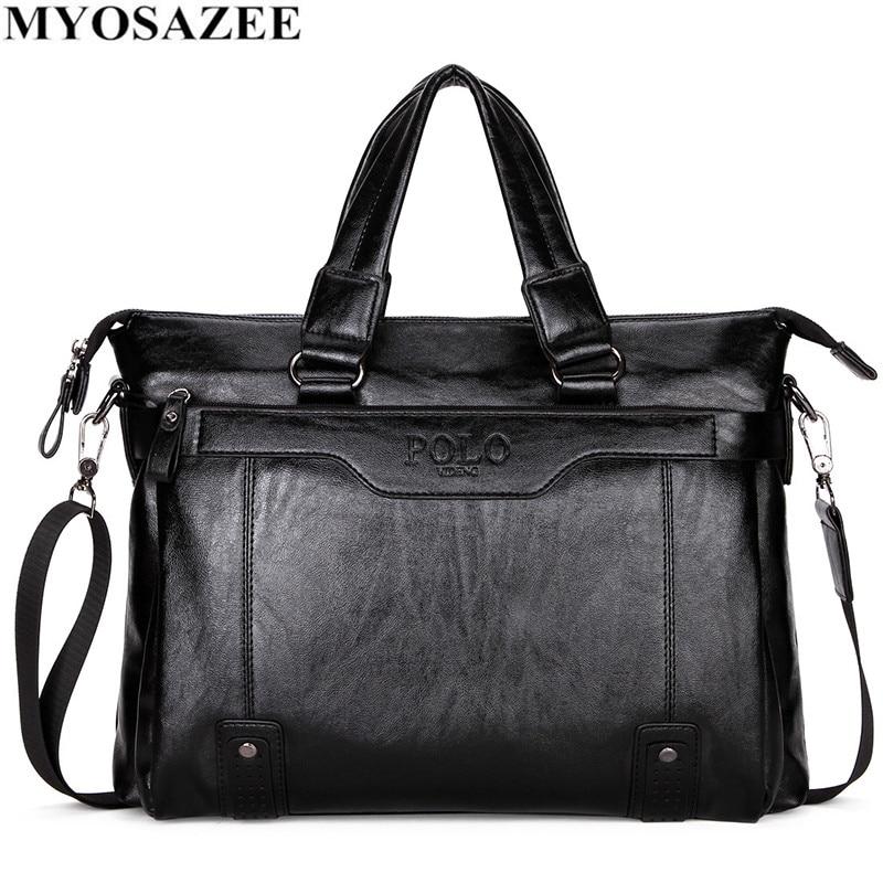 MYOSAZEE Famous Brand Men Fashion Simple Business  Briefcase Bag Male PU Leather Laptop Bag Casual Men Travel Bags Shoulder