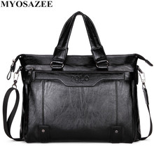 MYOSAZEE Famous Brand Men Fashion Simple Business  Briefcase Bag Male PU Leather Laptop Bag Casual Men Travel Bags Shoulder цена в Москве и Питере