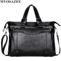 MYOSAZEE Famous Brand Men Fashion Simple Business Briefcase Bag Male PU Leather Laptop Bag Casual Men Travel Bags Shoulder