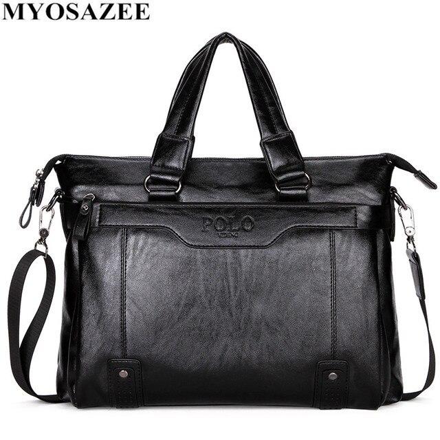 MYOSAZEE célèbre marque hommes mode Simple affaires porte documents sac mâle en cuir pour ordinateur portable sac décontracté hommes voyage sacs épaule