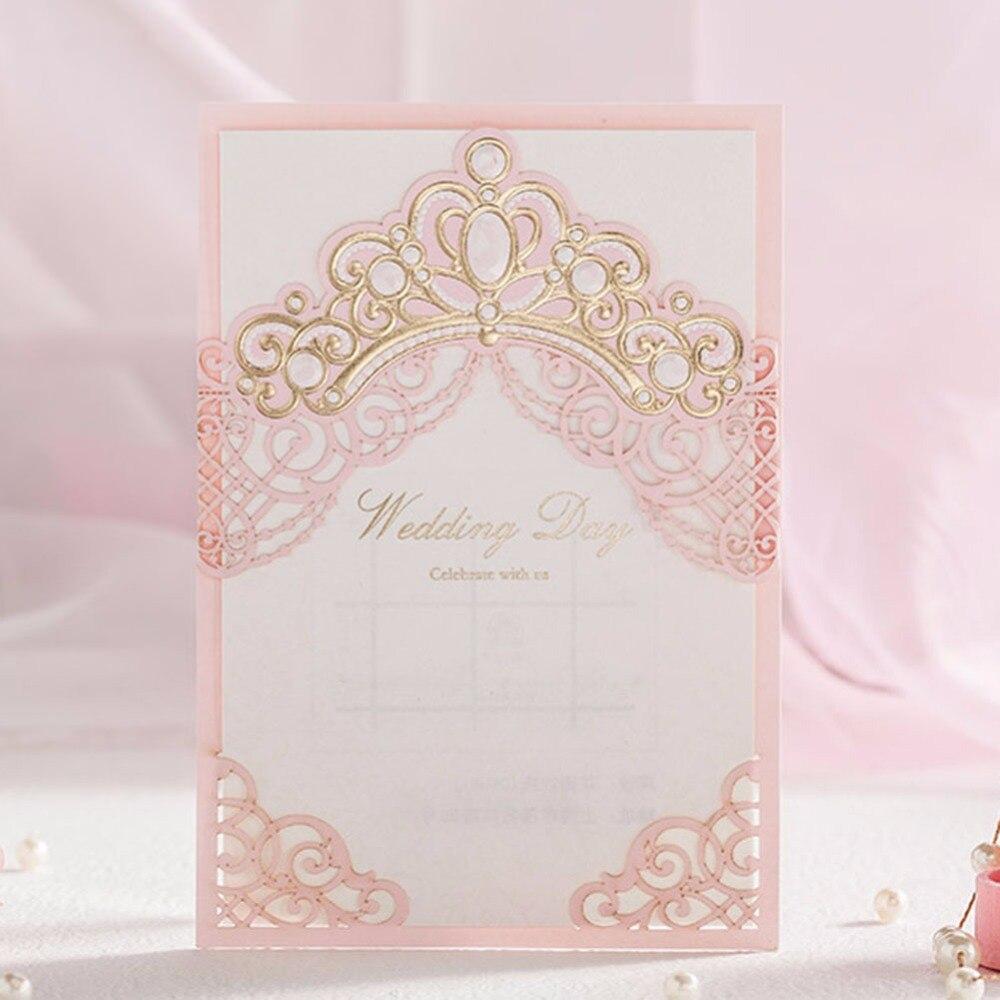 Rosa Laserschnitt Vintage Hochzeitseinladungen Karten 50 Teile Los