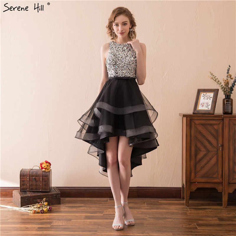 0412b0e301b80 Sexy Black Short Prom Dresses Asymmetrical High Low Crystal Party Dresses  Cut Back Crystal Beaded Sequins Robe De Soiree 17612