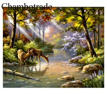 Hot Sell Chambotrade Frameless Landscape Forest Fawn Pictures DIY Number Linen Canvas Painting Acrylicpaint Home Decor Wall Art