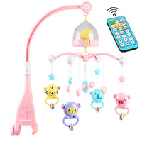 Baby Crib Mobile with Remote Controll Music Box Night Light Rotate Newborn Sleeping Bed Toys Infant Rattle