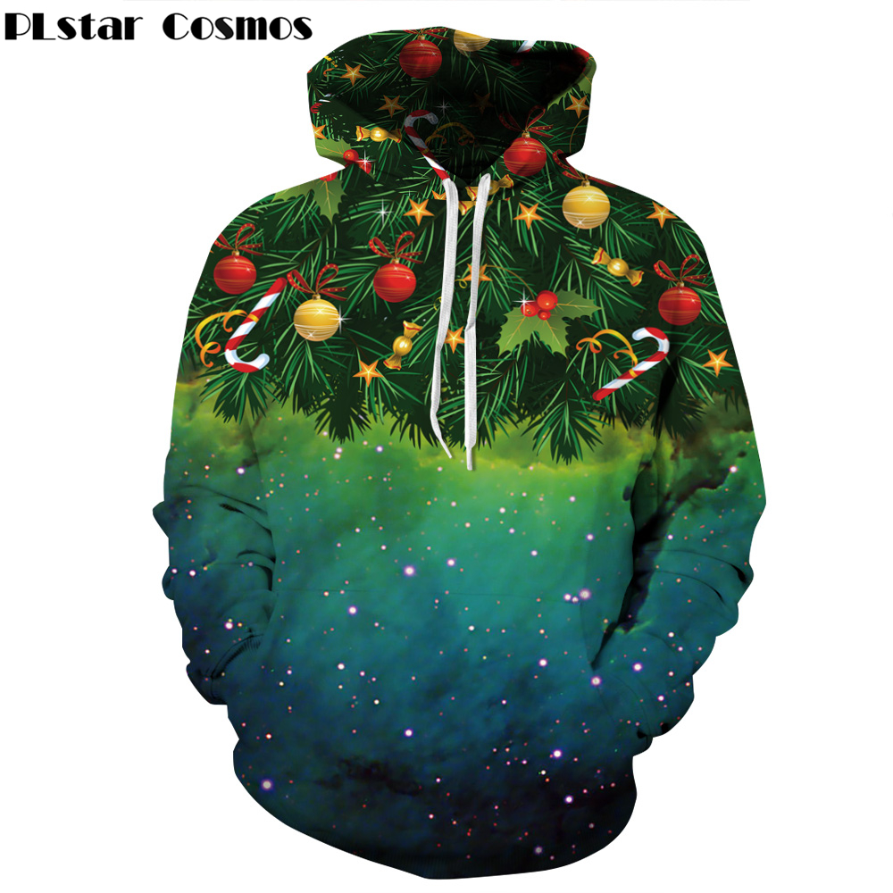 PLstar Cosmos 2018 Autumn New Fashion Christmas Hoodies Sweatshirts Starry sky christmas tree Print Casual Sweatshirt hoody