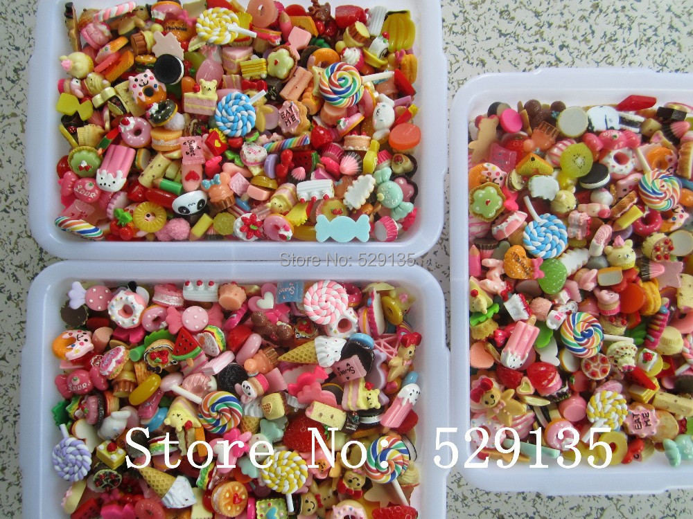 Venta al por mayor mezcla comida bonita, 1000 unids/lote, cabujón de resina para teléfono Deco, DIY, envío gratis-in Figuras y miniaturas from Hogar y Mascotas    1