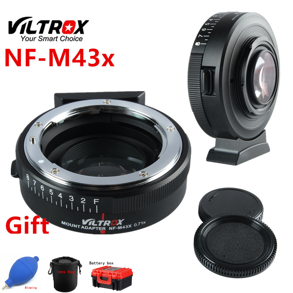 Viltrox NF M43X Focal Reducer Speed Booster Adapter Turbo w/Aperture for Nikon Lens to M4/3 camera GH4 GH5GK GH85GK EM10II