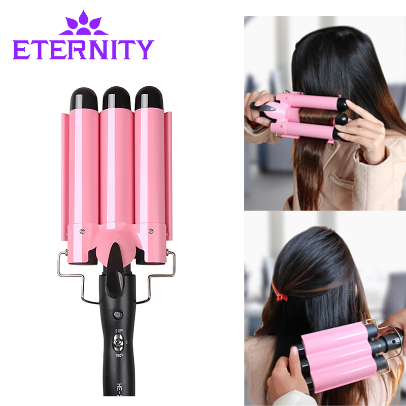 20-32m Automatic Perm Splint Ceramic Hair Curler 3 Barrels Big Wave Hair Curling Iron Hair Waver Curlers  Styling Tools ET-76