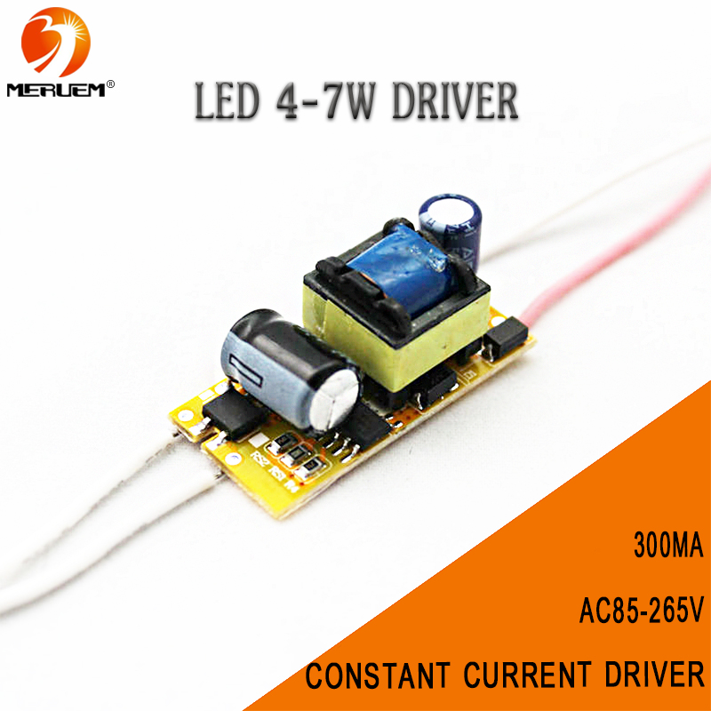 Free shipping 300Ma (4-7)x 1W 4W 5W 6W 7W Lamp Driver Power Supply ac85-265v Transformer AC to direct current for E27 Led lights
