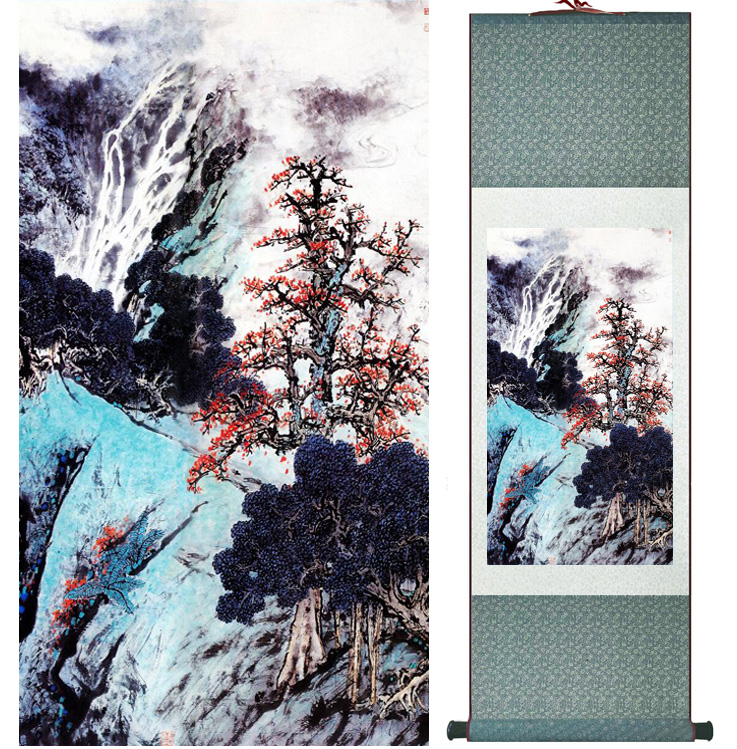 landscape painting Home Office Decoration Chinese scroll painting mountain and River paintingPrinted painting042403