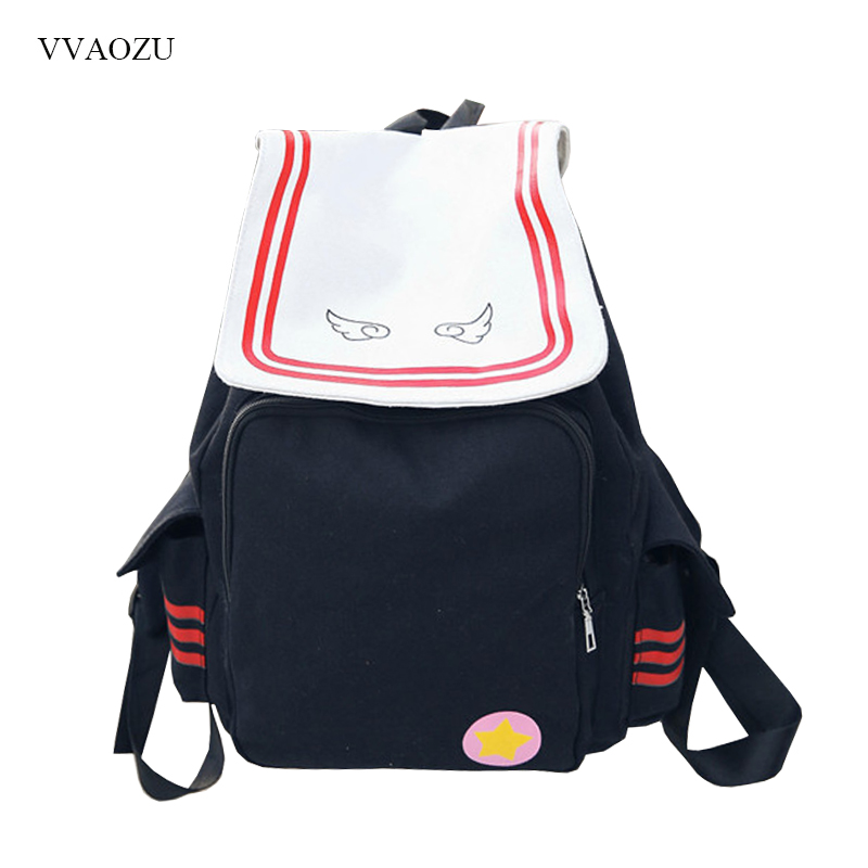 Backpacks 2018 Japanese Style Cute Backpack Embroidery Wings Sakura Magic Department Pu Shoulder Bags Cartoon Backpack Student School Bag Handsome Appearance Women's Bags
