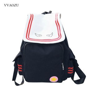 Image 1 - Anime Card Captor Cardcaptor Sakura Backpack KINOMOTO SAKURA Magic Card Girl Canvas Large Capacity Schoolbag Cosplay Backpacks