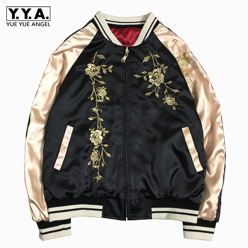 2019 Spring Embroidery Baseball   Basic     Jacket   Coat Unisex Casual Loose Long Sleeve Hip Hop Bomber Satin   Jacket   Outwear Couple