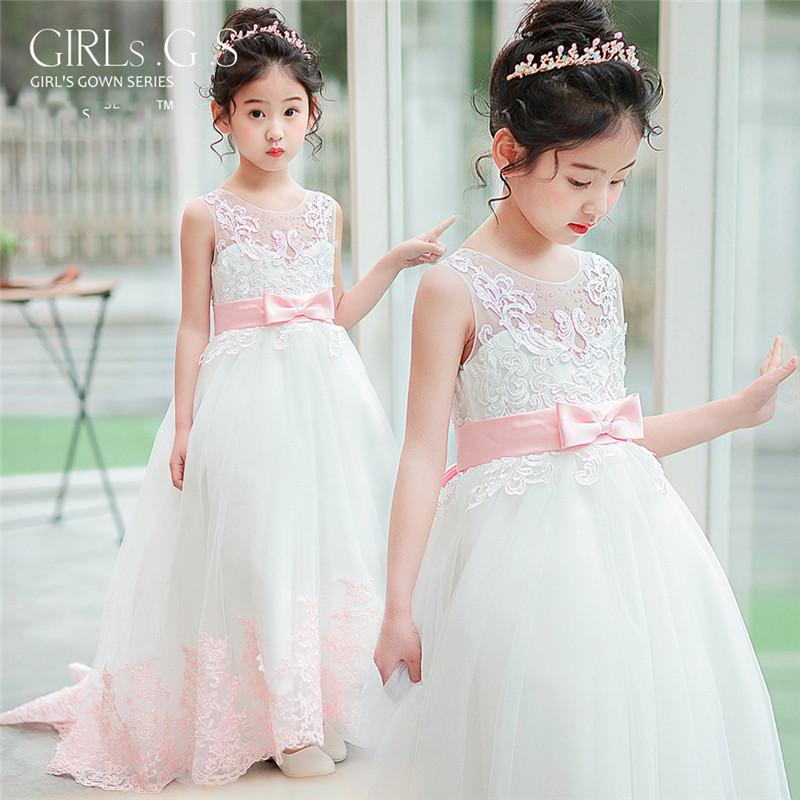 2019 Kids Girls Lace Tulle Ball Gown Teens Girls Princess Birthday Party Dress Children Appliques Beads Trailing Vestido Q4022019 Kids Girls Lace Tulle Ball Gown Teens Girls Princess Birthday Party Dress Children Appliques Beads Trailing Vestido Q402
