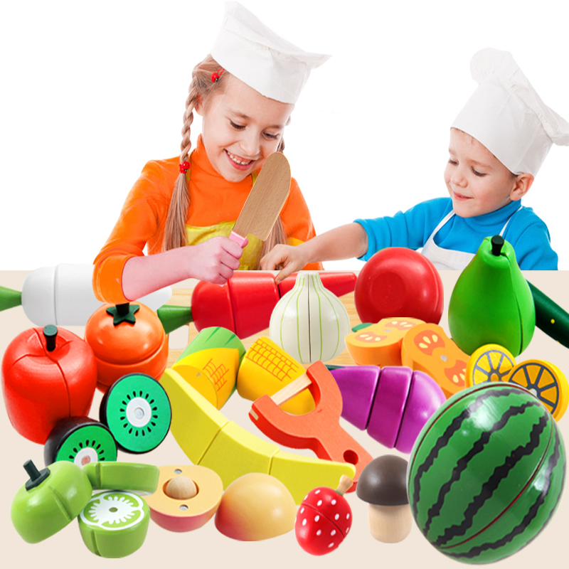 Wooden Food Fruit and Vegetable Cutting Set Colorful Pretend Play Kitchen Toys Set For Kids free shipping kids children role pretend play wooden ice refrige ice cream set kitchen food toys new