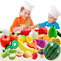 Wooden Food Fruit and Vegetable Cutting Set Colorful Pretend Play Kitchen Toys Set For Kids