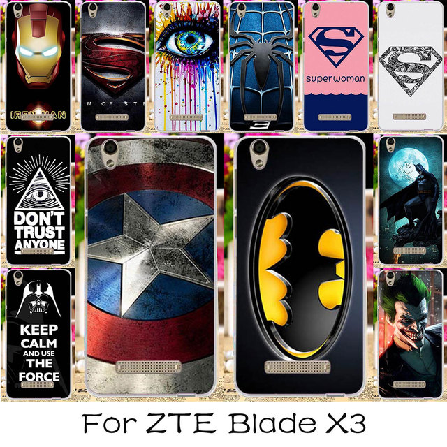 TAOYUNXI Silicon Mobile Phone Case For ZTE Blade X3 D2 T620 5.0 inch Blade D2 Blade T620 Cover America Captain Batman For ZTE X3