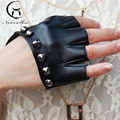 Models Fingerless Rivet Semi Sexy Lady Nightclub Personality Refers To The Non Mainstream Hip-hop Punk Gloves Leather Gloves