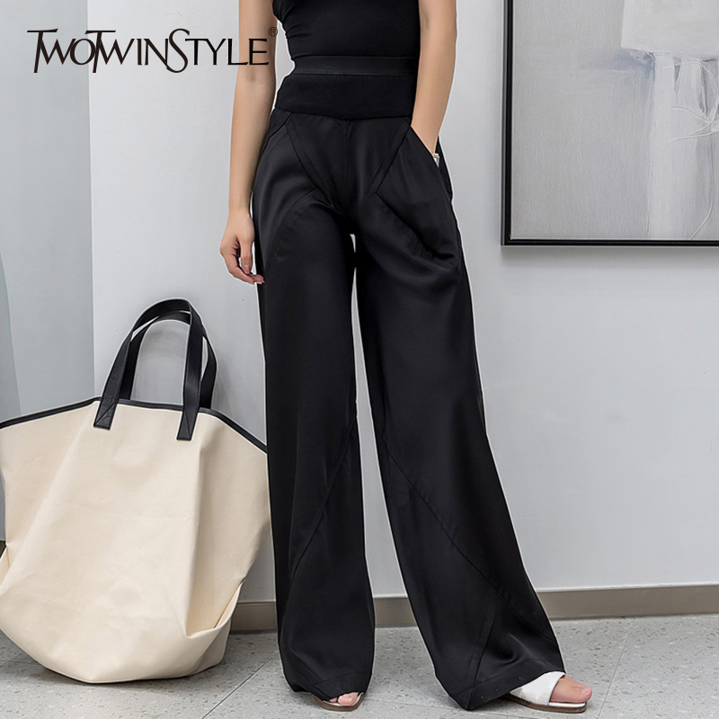 TWOTWINSTYLE Elastic Women's Pants Pocket Patchwork High Waist Black Maxi Wide Leg Pants Female Casual Fashion Autumn Clothing