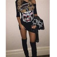 Шт. 1 шт. черные женские шорты в стиле панк-рок рукава Орел печати Футболка вырезать плечо мешковатые