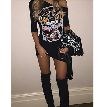 1pcs black Ladies Women Punk Rock Short Sleeve Eagle Print T-Shirt Cut Shoulder Baggy