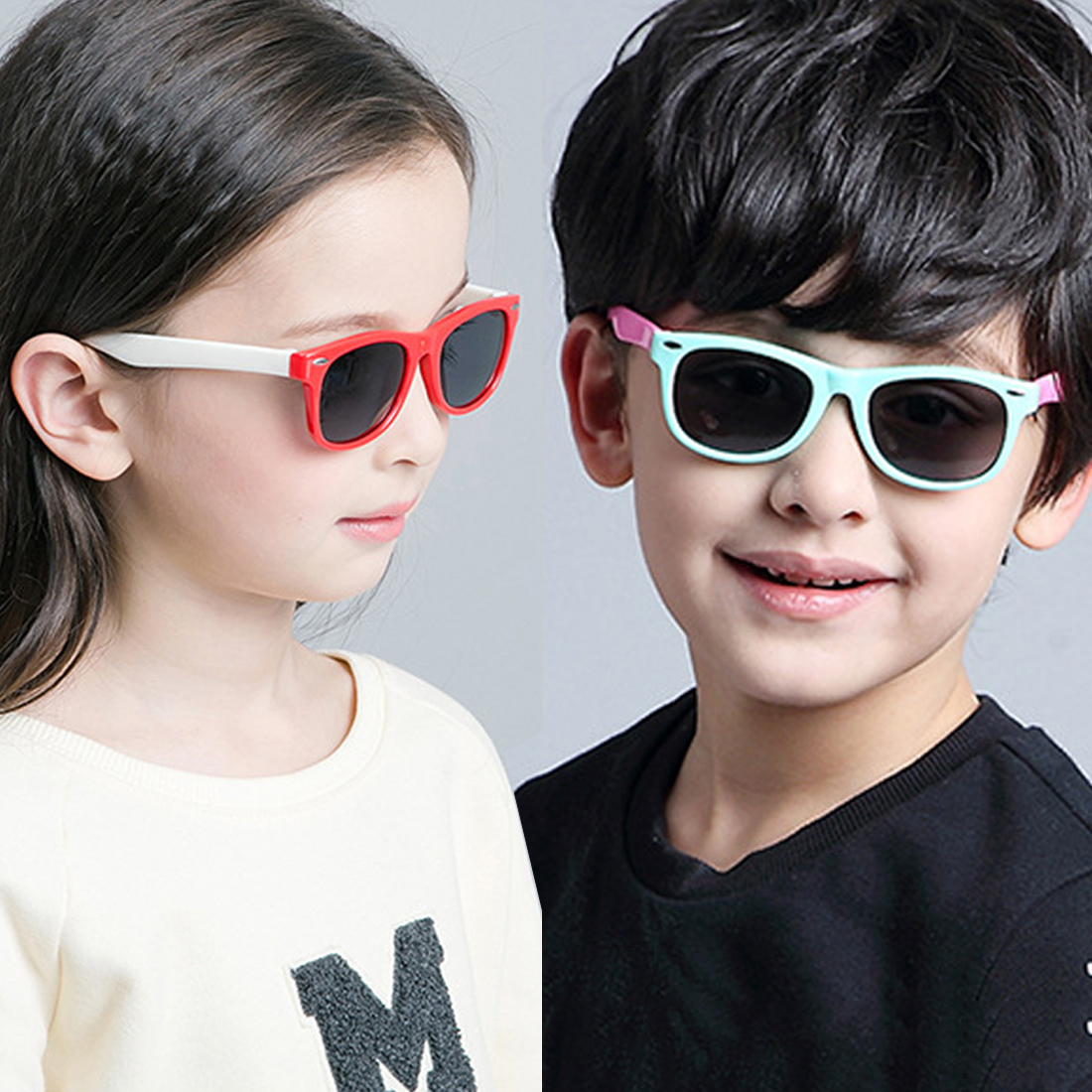 Rubber frame Polarized Kids Sunglasses with Case Boys Girls Silicone Safety Sun Glasses Gift For Children Baby UV400 Gafas in Sunglasses from Mother Kids