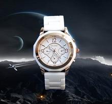 Marca de moda de Cuarzo de Las Señoras Relojes de Cerámica Blanca de la Mujer Del Higth Grado Pulsera Con Calendario de Lujo de Múltiples Funciones del Enchufe de Fábrica