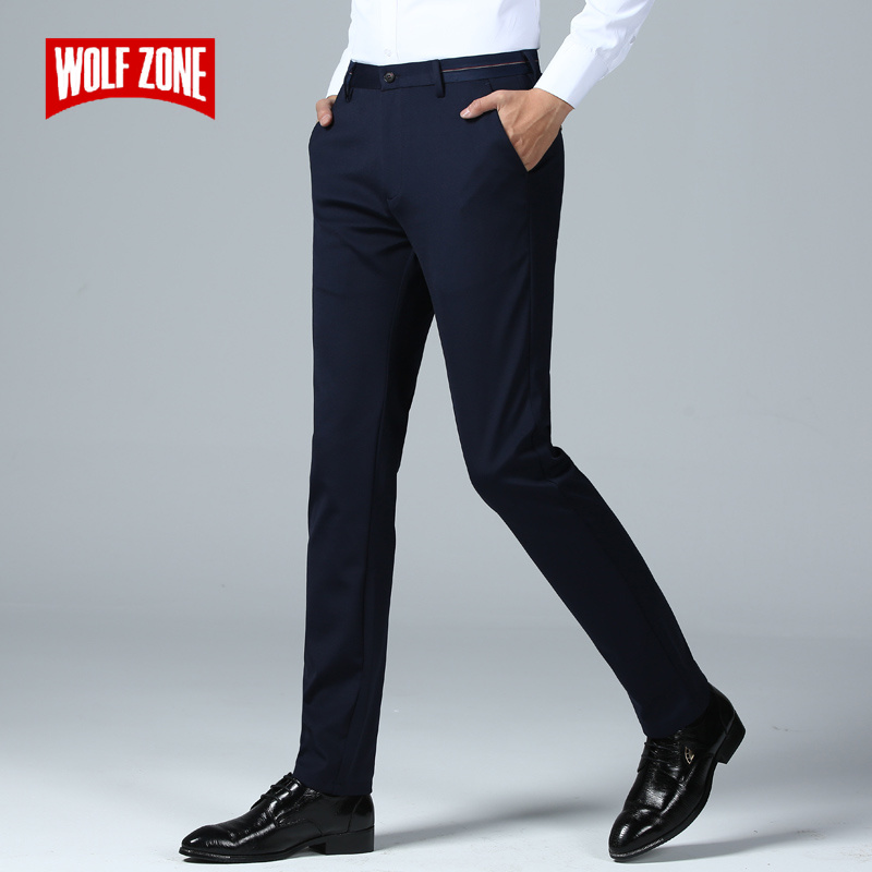 Brand Spring Summer Pants Men Fashion Casual Elastic Long Trousers Male Straight Business Suit Pants Large Size 29-40