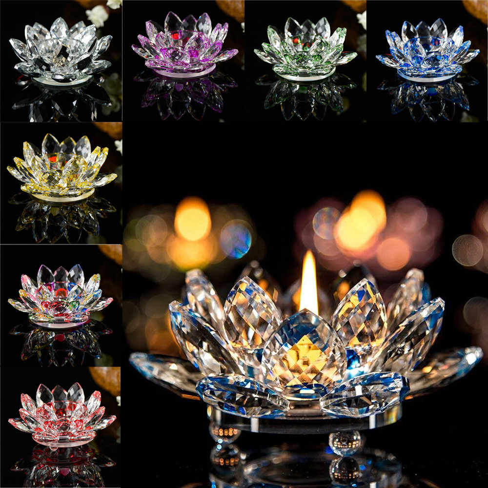 Crystal Glass Lotus Flower Candle Tea Light Holder Buddhist Candlestick Wedding Bar Party Valentine's Day Decor#5