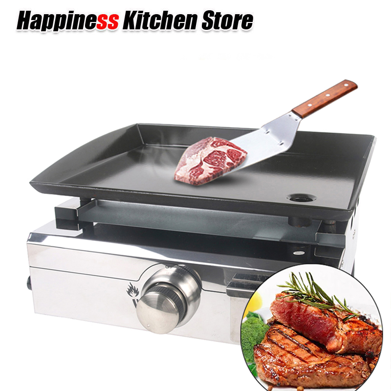 Oversea Warehouse Gas LPG BBQ Grill 1 Burner Plancha Gas Griddle Outdoor Machine Steak Vegetable Cooking Plate churrasqueira