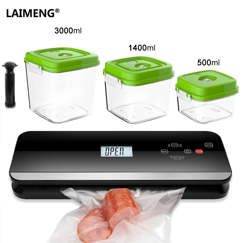 LAIMENG Automatic Vacuum Food Sealer Food Grade Canister Vacuum Bags Packing Machine Vacuum Packer Packaging Kitchen
